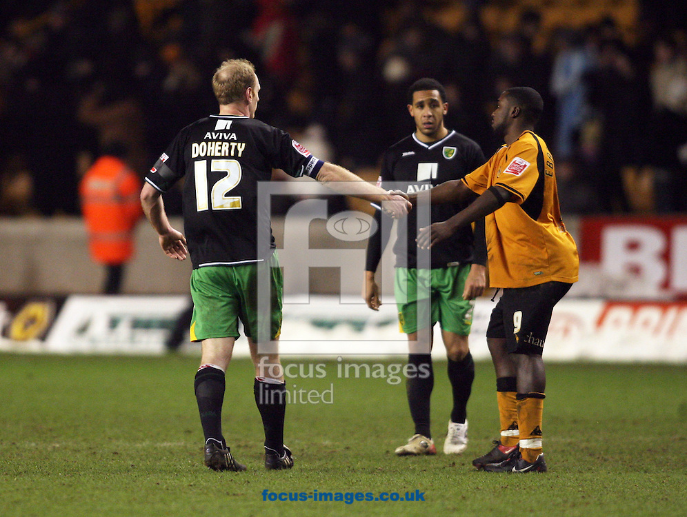 Wolverhampton - Tuesday February 3rd, 2009: Sylvan Ebanks-Blake of Wolverhampton Wanderers shakes hands with Gary Doherty of Norwich City during the Coca Cola Championship match at Molineaux, Wolverhampton. (Pic by Chris Ratcliffe/Focus Images)