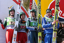 Russian team placed third: Ilja Rosliakov, Denis Kornilov, Pavel Karelin and Dimitry Vassiliev at Flying Hill Team in 3rd day of 32nd World Cup Competition of FIS World Cup Ski Jumping Final in Planica, Slovenia, on March 21, 2009. (Photo by Vid Ponikvar / Sportida)
