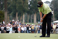 18 February 2007: Phil Mickelson makes a putt during the final day of the Nissan Open PGA golf tournament at the Riviera Country Club in Los Angeles, CA.