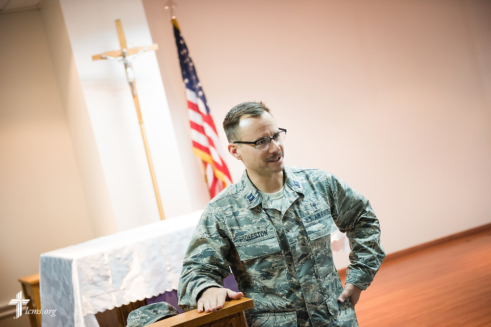 Air Force Capt. Joseph Eggleston, chaplain, 386th Air Expeditionary Wing, stands in the chapel on Monday, March 23, 2015. LCMS Communications/Erik M. Lunsford