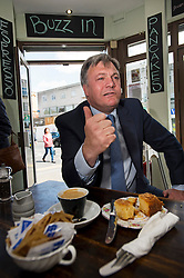 © London News Pictures. 01/05/2015. Shadow Chancellor ED BALLS during a visit to a coffee shop in Woodside Park, North London ahead of the 2015 general election. Photo credit: Ben Cawthra/LNP