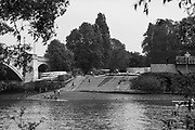 Mortlake/Chiswick. Greater London. London. 2017 Chiswick Bridge and Tideway Scullers School Boathouse.  Bourne Regatta At Chiswick Bridge   Course, Runs from and to Mortlake Anglian and Alpha Boathouse, dependent on the Tide Direction. Chiswick.  River Thames. <br /> <br /> General view, Chiswick Bridge and Tideway Scullers School, slipway.<br /> Saturday  06/05/2017<br /> <br /> [Mandatory Credit Peter SPURRIER/Intersport Images]