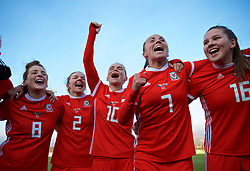 ZENICA, BOSNIA AND HERZEGOVINA - Tuesday, November 28, 2017: Wales players celebrate after beating Bosnia and Herzegovina 1-0 during the FIFA Women's World Cup 2019 Qualifying Round Group 1 match between Bosnia and Herzegovina and Wales at the FF BH Football Training Centre. Angharad James, Loren Dykes, Jessica Fishlock, Natasha Harding, Alice Griffiths. (Pic by David Rawcliffe/Propaganda)