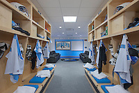 Architectural interior photo of Locker Room in Cordish Lacrosse Center at Johns Hopkins University by Jeffrey Sauers of Commercial Photographics