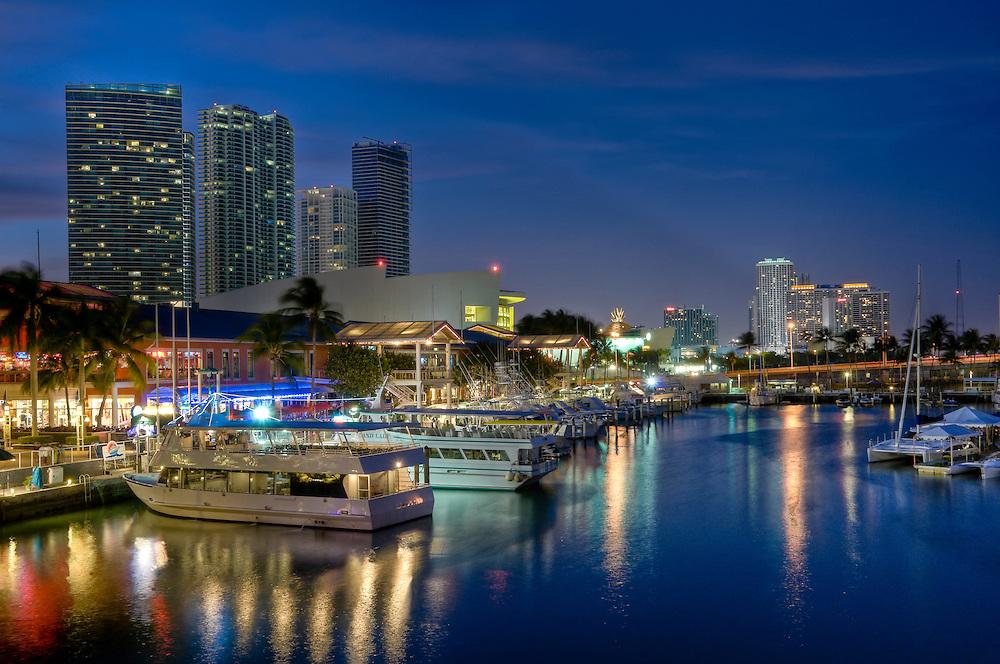 View of Miami Bayside Market and Marina.