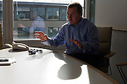British Airways' Chairman, Willie Walsh during an interview by Alain de Botton at the company's Waterside corporate HQ
