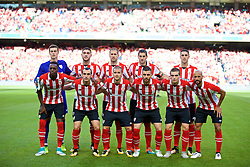 DUBLIN, REPUBLIC OF IRELAND - Saturday, August 5, 2017: Athletic Club Bilbao players line-up for a team group photograph before a preseason friendly match between Athletic Club Bilbao and Liverpool at the Aviva Stadium. Back row L-R: goalkeeper Kepa Arrizabalaga, Unai Nunez, xxxx, Mikel San José, xxxx. Front row L-R: xxxx, xxxx, xxxx, xxxx, xxxx, Mikel Rico. (Pic by David Rawcliffe/Propaganda)