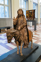 Christ on Back of a Donkey, Procession Image on Palm Sunday. Sculpture by Franken at Bode Museum, Berlin, Germany