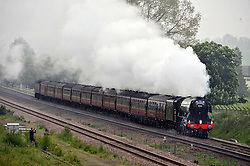 THE FLYING SCOTSMAN, Steaming through Northamptonshire heading North this morning Saturday 4th June 2016<br /> <br /> (c) Mike Capps | Edinburgh Elite media