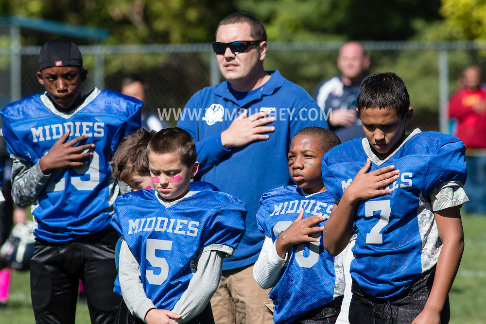 Middletown, New York - Middletown plays Wallkill in an Orange County Youth Football League Divsion 2 game at Watts Park  on Oct. 4, 2015.