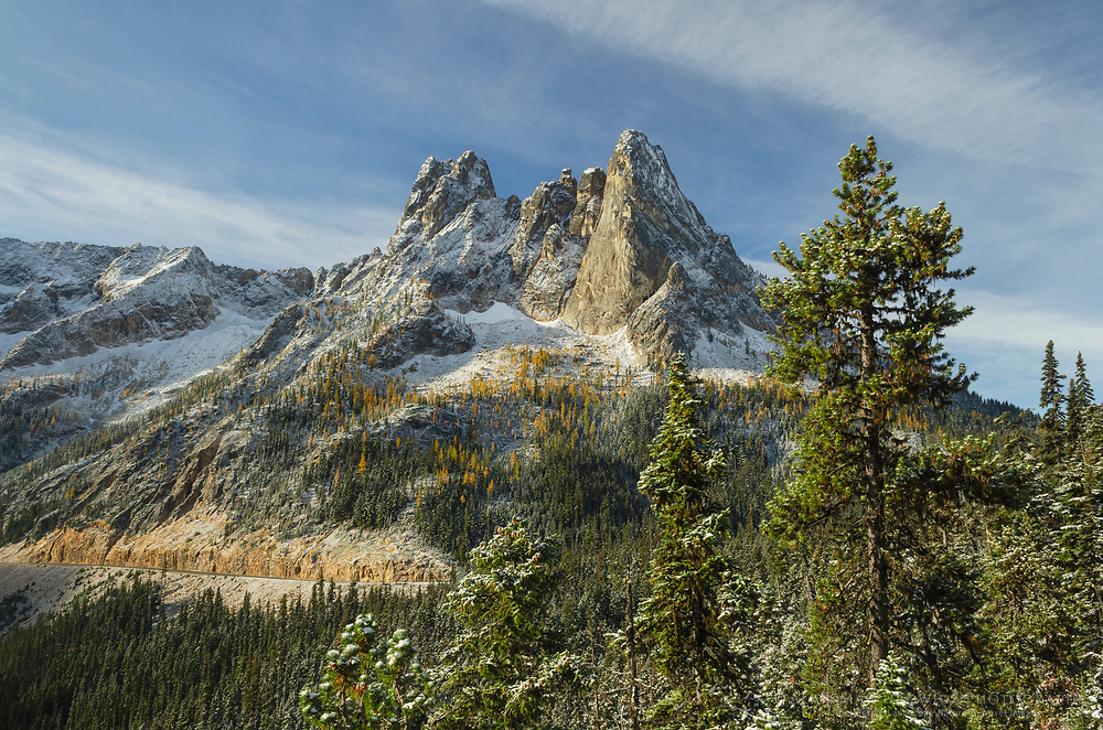 Liberty Bell Mountain and Early Winters Spires seen from Washington Pass Overlook. North Cascades, Washington