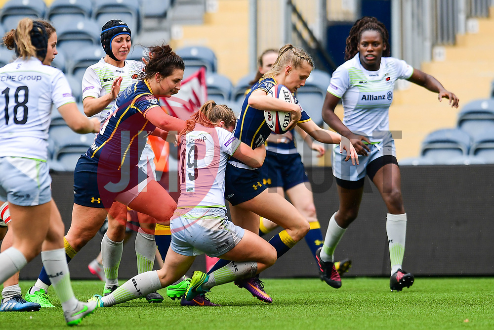 Vicky Laflin of Worcester Valkyries is tackled by Kay Searcy of Saracens Ladies  - Mandatory by-line: Craig Thomas/JMP - 30/09/2017 - RUGBY - Sixways Stadium - Worcester, England - Worcester Valkyries v Saracens Women - Tyrrells Premier 15s