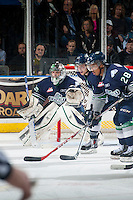 KELOWNA, CANADA - JANUARY 16: Taran Kozun #35 of Seattle Thunderbirds defends the net against the Kelowna Rockets on January 16, 2015 at Prospera Place in Kelowna, British Columbia, Canada.  (Photo by Marissa Baecker/Shoot the Breeze)  *** Local Caption *** Taran Kozun;