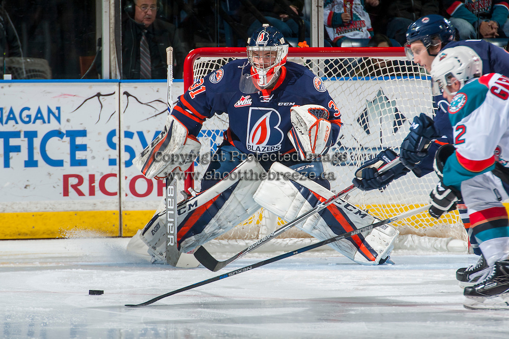 KELOWNA, CANADA - DECEMBER 27: Dylan Ferguson #31 of the Kamloops Blazers defends the net against the Kelowna Rockets on December 27, 2016 at Prospera Place in Kelowna, British Columbia, Canada.  (Photo by Marissa Baecker/Shoot the Breeze)  *** Local Caption ***