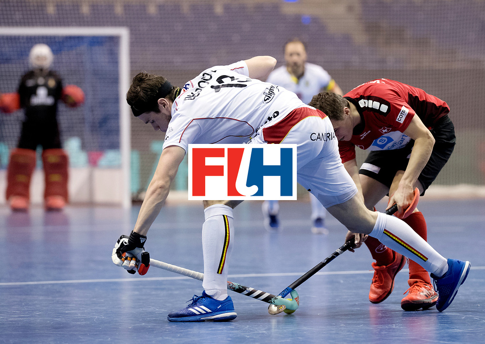 BERLIN - Indoor Hockey World Cup<br /> Men: Switzerland - Belgium<br /> foto: DEGROOTE Tom and SCHNEIDER Sebastian.<br /> WORLDSPORTPICS COPYRIGHT FRANK UIJLENBROEK