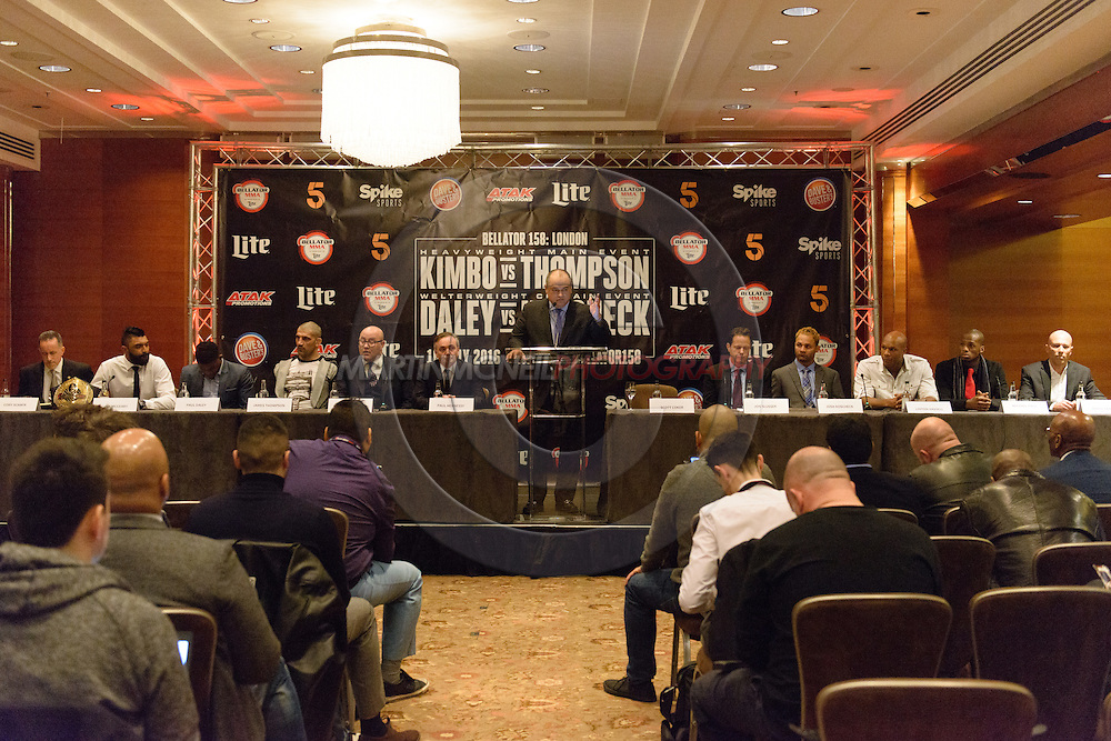"LONDON, ENGLAND, APRIL 18, 2016: A general view of the event announcement press conference for ""Bellator 158: Slice vs. Thompson"" inside the Four Seasons Hotel in Park Lane, London (© Martin McNeil)"