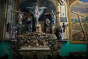Queretaro, Mexico, August 8, 2006-Religious tableau inside the Convento de La Cruz interior.