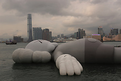 March 22, 2019 - Hong Kong, China - After leaving it's mark in Seoul and Taipei, KAW'S HOLIDAY INSTALLATION is on display on the water of Hong Kong Victoria Harbor from today until 31st of this month for public view.  (Credit Image: © Liau Chung-ren/ZUMA Wire)
