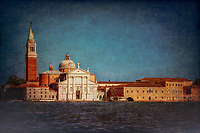 """View from the Grand Canal of the church of San Giorgio Maggiore in Venice - Blue and Red""…<br />