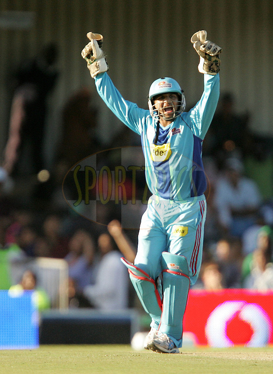 EAST LONDON, SOUTH AFRICA - 1 May 2009. Pinal Shah celebrates during the  IPL Season 2 match between the Mumbai Indians and the Kolkata Knight Riders held at Buffalo Park in East London. South Africa..