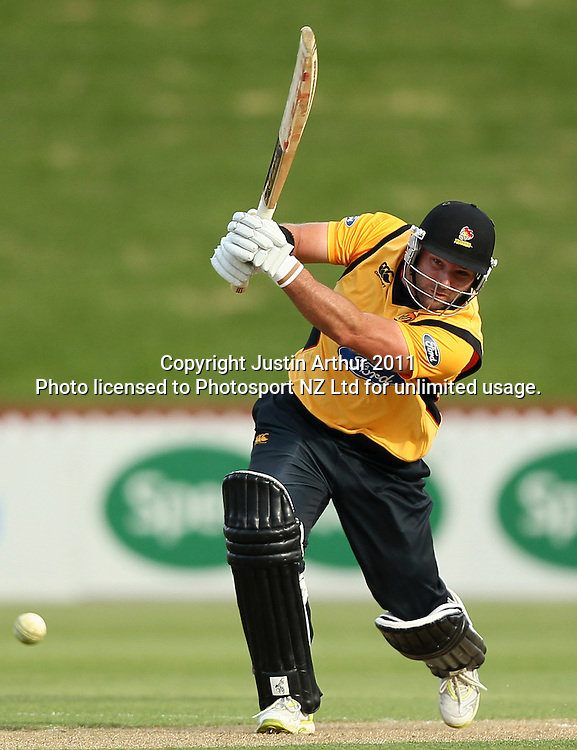 Luke Woodcock of the Firebirds in action. Ford Trophy - Wellington Firebirds v Canterbury Wizards, Hawkins Basin Reserve, Wellington, New Zealand on Thursday 26 January 2012. Photo: Justin Arthur / Photosport.co.nz