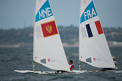 2012 Olympic Games London / Weymouth<br /> Racing day 1 Laser<br /> LaserMNEcDukic Milivoj<br /> LaserFRABernaz Jean Baptiste