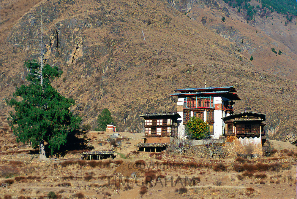 Traditional chalet style housing in Bhutan.