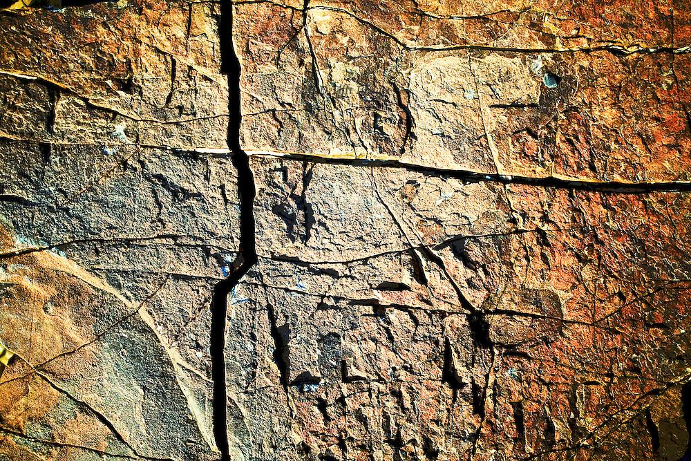 Detail of incised pattern in rock face, Wadi El Ain, Oman.