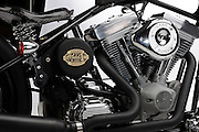 Brass Ball Bobber motorcycle Model 1 production custom chopper on white background