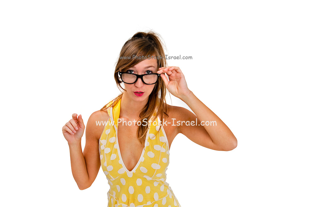 Intelligent looking young woman with reading gasses