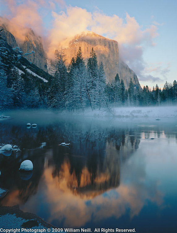 El Capitan and Merced River, winter sunset, Gates of the Valley, Yosemite National Park,  California