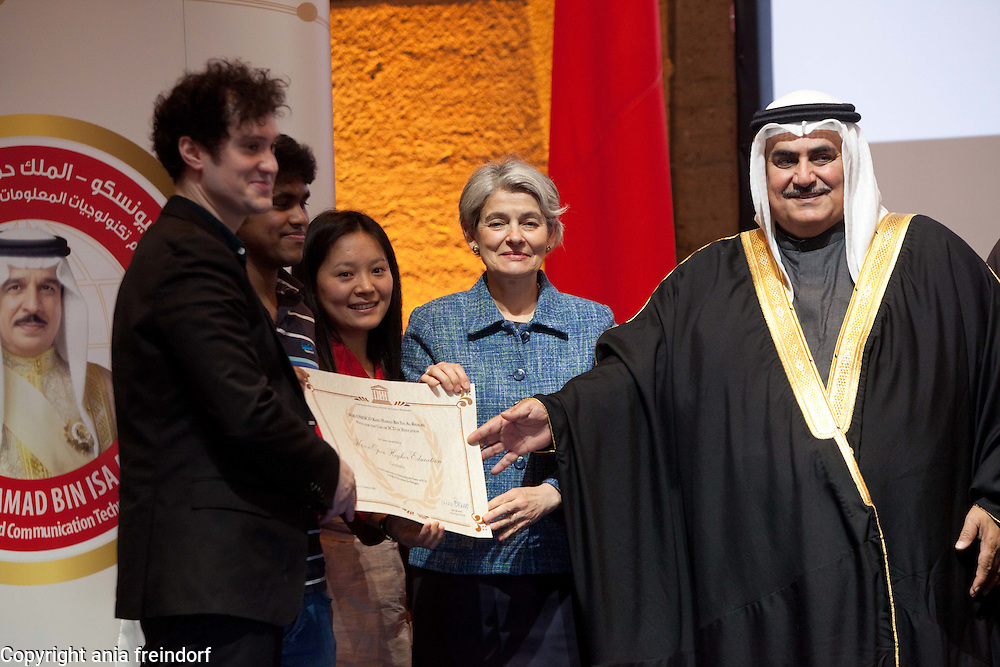 UNESCO - King Hamad Bin Isa Al-Khalifa Prize, for the use of Information and Communication Technologies in Education, Paris, France. H.E. Majid Bin Ali Al-Nuami, Minister of Education, the Kingdom of Bahrain. H.E.Shaikh Khalid Bin Ahmed Bin Mohamed Al Khalifa, Minister of Freign Affairs, the Kingdom of Bahrain. Ms Irina Bokova, Director-General UNESCO.