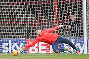 York City goalkeeper Scott Flinders  during the Sky Bet League 2 match between York City and Morecambe at Bootham Crescent, York, England on 19 December 2015. Photo by Simon Davies.