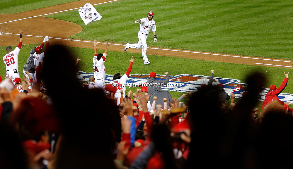 Washington Nationals outfielder Jayson Werth celebrates with the dugout after his walk-off home run to win Game 4 of their MLB NLDS baseball series against the St. Louis Cardinals in Washington.