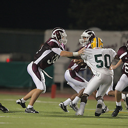 31 October, 2008: St. Thomas Aquinas G/DE Cameron LeBleau (#54) St. Thomas Aquinas C/DT Michael Prenger? (#60)  The St. Thomas Falcons recorded their first shut out of the season with a 41-0 shutout of the Southern Lab Kittens at Strawberry Stadium in Hammond, LA.