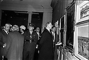 06/05/1963<br /> 05/06/1963<br /> 06 May 1963<br /> Opening of the RHA exhibition at the National College of Art, Dublin. It was the 134th exhibition of the Academy. Image shows President Eamon de Valera, accompanied by Mr Michael de Burca, Secretary and Treasurer (Trustee), viewing some of the exhibits at the opening. Also in the picture is Colonel Sean Brennan A.D.C..