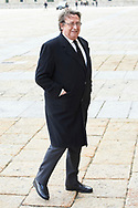 Alfonso Ussia attend Mass commemorating the 25th anniversary of the death of His Royal Highness the Count of Barcelona Juan of Borbon at Royal Monastery of San Lorenzo de El Escorialon April 3, 2018 in El Escorial, Spain