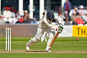 Haseeb Hameed of Lancashire plays a defensive shot during the Specsavers County Champ Div 1 match between Somerset County Cricket Club and Lancashire County Cricket Club at the Cooper Associates County Ground, Taunton, United Kingdom on 14 September 2017. Photo by Graham Hunt.