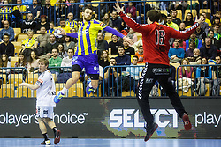 Mackovsek Borut #51 of RK Celje Pivovarna Lasko and Simic Nebojsa #16 of IFK Kristianstad during handball match between RK Celje Pivovarna Lasko (SLO) and IFK Kristianstad (SWE) in Group phase of EHF Men's Champions League 2016/17, on February 11, 2017 in Arena Zlatorog, Celje, Slovenia. Photo by Grega Valancic