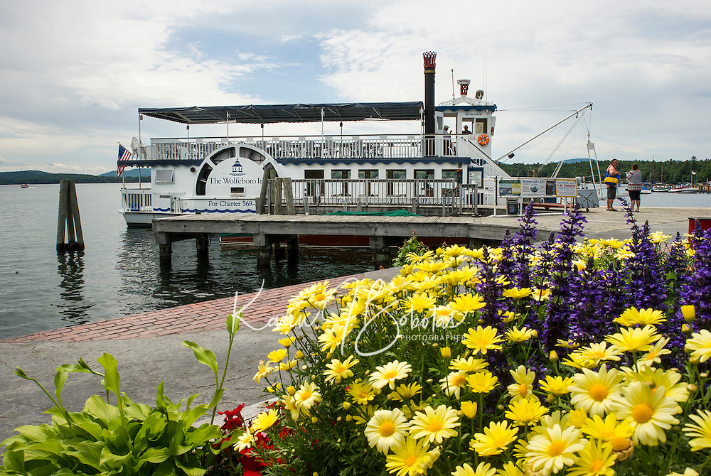 Capt. Tom Wood and First Mate Dick Curran are ready for passengers to board the Winnipesaukee Belle from the Wolfeboro Town Docks.  ©2106 Karen Bobotas Photographer