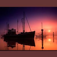 Fishing Boat, sunrise, River Medina, Cowes, Isle of Wight, UK, canvas, print