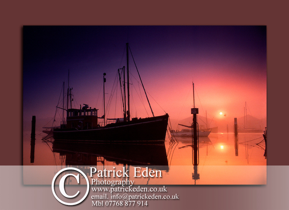 Fishing Boat, sunrise, River Medina, Cowes, Isle of Wight, UK, canvas, print