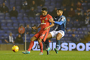 Birmingham City midfielder David Davis holds up Blackburn Rovers midfielder Lee Williamson during the Sky Bet Championship match between Birmingham City and Blackburn Rovers at St Andrews, Birmingham, England on 3 November 2015. Photo by Alan Franklin.