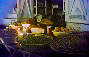 AFRICA, MOROCCO, TANGIER:  Olives and lemons for sale in the Fez Market of Tangier.  Illustration.