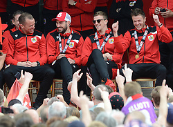 Bristol City's Aaron Wilbraham, Greg Cunningham, Aden Flint, and Dave Richards celebrate during the celebration tour  - Photo mandatory by-line: Dougie Allward/JMP - Mobile: 07966 386802 - 04/05/2015 - SPORT - Football - Bristol -  - Bristol City Celebration Tour