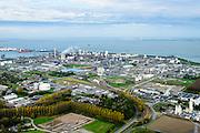 Nederland, Zeeland, Zeeuws-Vlaanderen, 19-10-2014; Terneuzen, zicht op Dow Chemical en de Westerschelde. Ingang Westerscheldetunnel.<br /> Chemical plant and Western Scheldt.<br /> luchtfoto (toeslag op standard tarieven);<br /> aerial photo (additional fee required);<br /> copyright foto/photo Siebe Swart