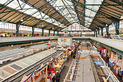 Inside the market building in city centre of Cardiff, South Wales, UK