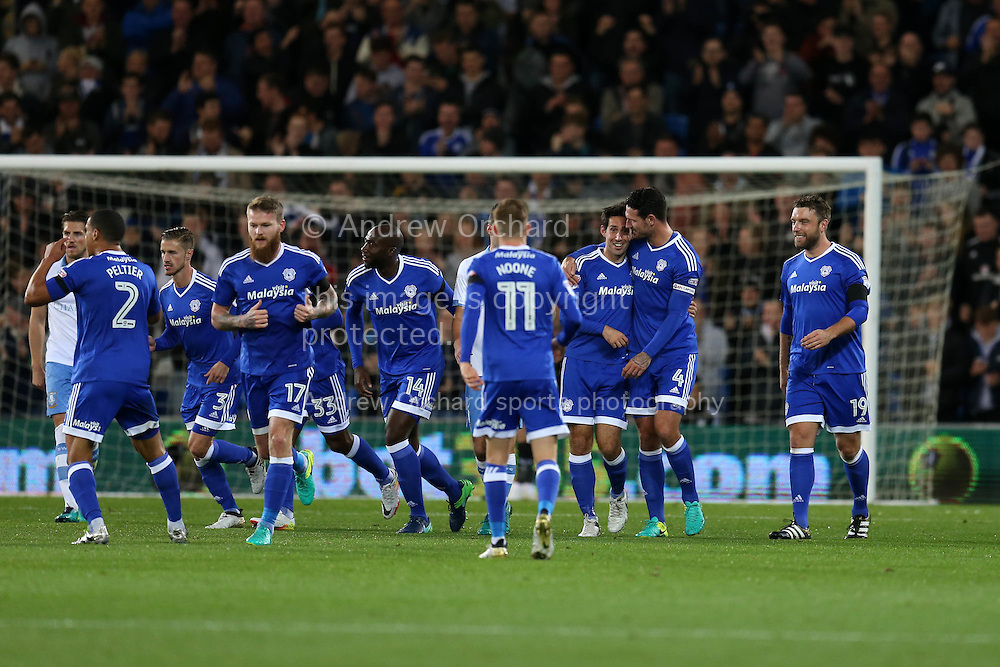 Peter Whittingham (7  3rd right) of Cardiff city celebrates with his teammates after he scores his teams 1st goal from a free-kick. EFL Skybet championship match, Cardiff city v Sheffield Wednesday at the Cardiff city stadium in Cardiff, South Wales on Wednesday 19th October 2016.<br /> pic by Andrew Orchard, Andrew Orchard sports photography.
