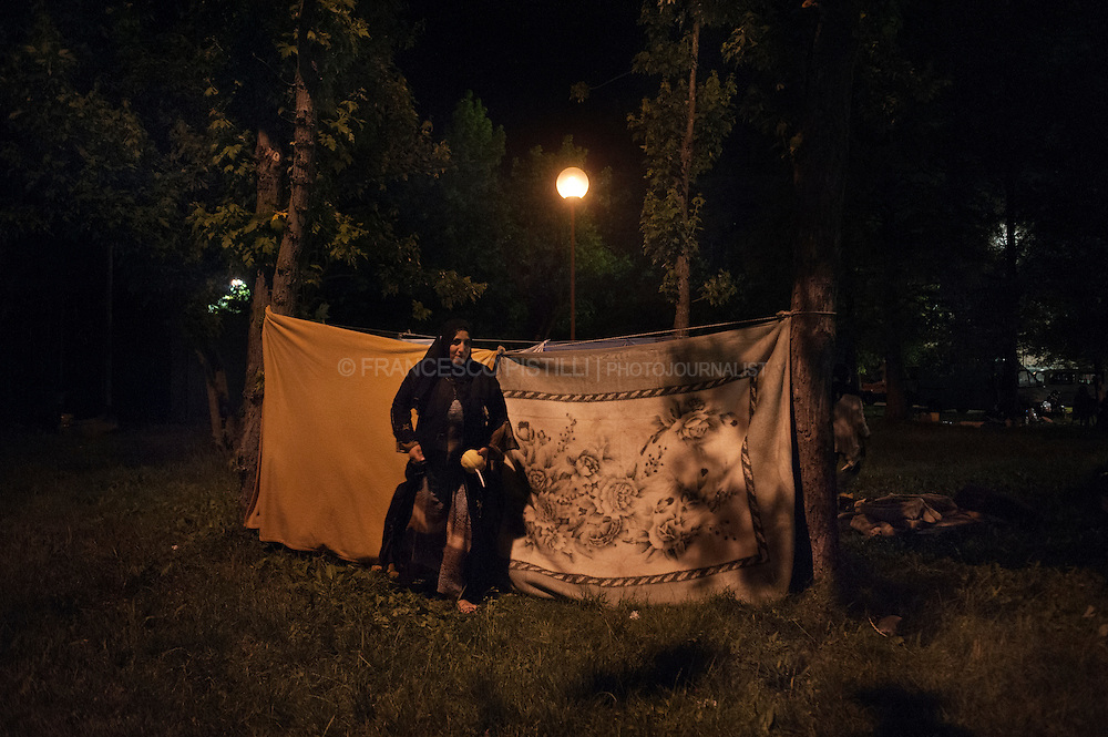 Italy, Crevalcore (BO). May 29th 2012 - Several people, fearing new tremors, decided to sleep outside their houses, setting up tents in their gardens.<br /> A powerful earthquake struck Emilia Romagna killing 16 people, injured 350, left around 14.000 homeless.