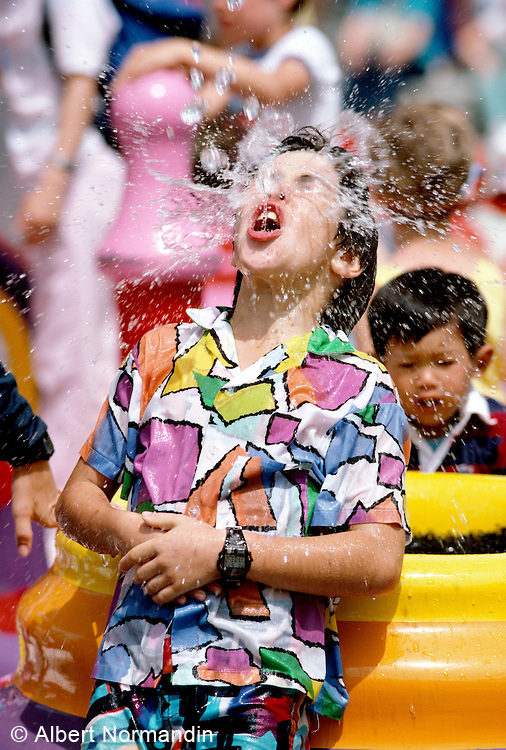 Boy being splashed at H2O park, EXPO 86
